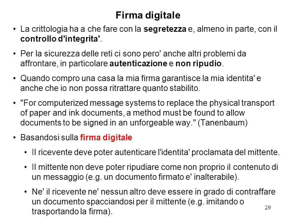 Firma digitale La crittologia ha a che fare con la segretezza e, almeno in parte, con il controllo d integrita .