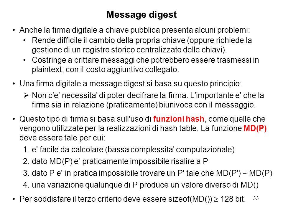 Message digest Anche la firma digitale a chiave pubblica presenta alcuni problemi: