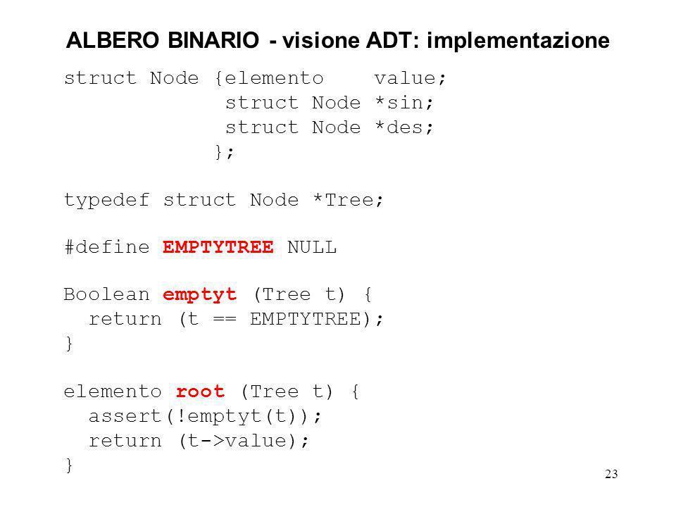 ALBERO BINARIO - visione ADT: implementazione