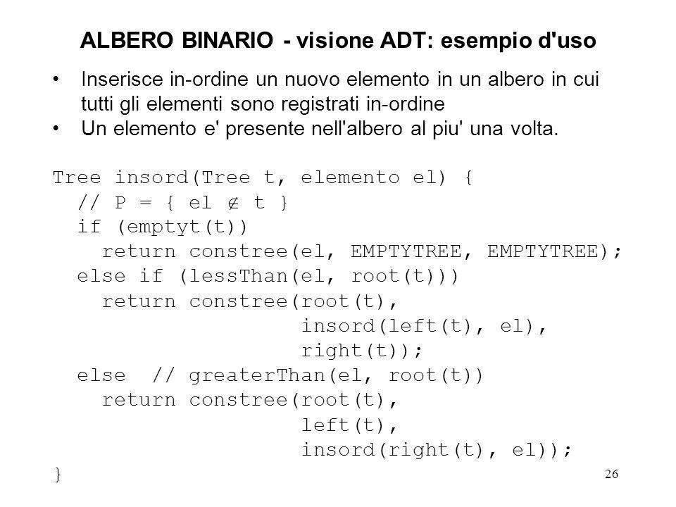 ALBERO BINARIO - visione ADT: esempio d uso