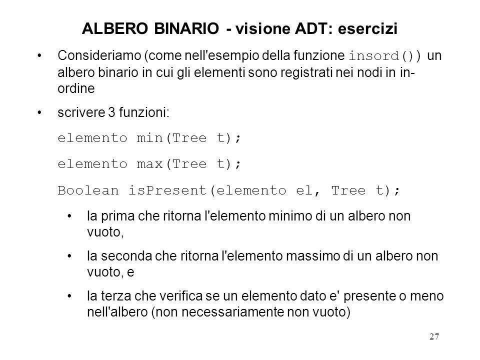ALBERO BINARIO - visione ADT: esercizi