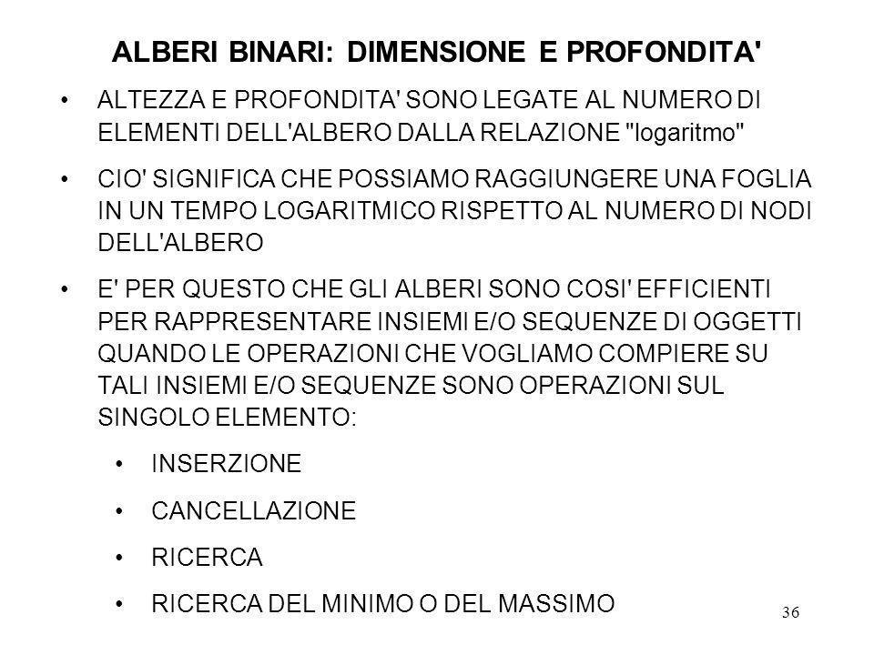 ALBERI BINARI: DIMENSIONE E PROFONDITA