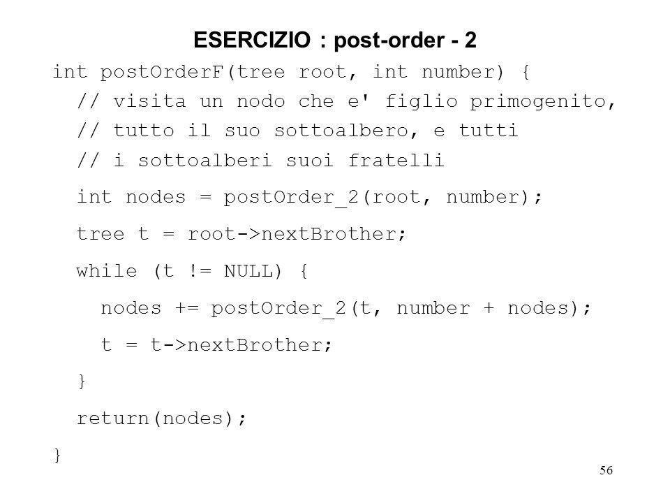 ESERCIZIO : post-order - 2