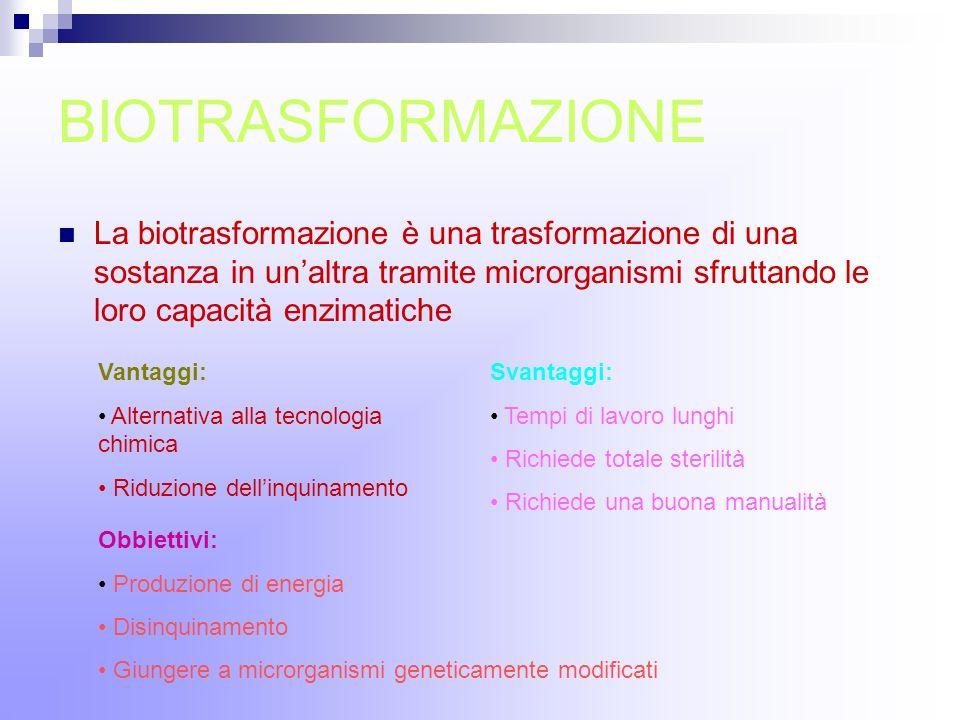 BIOTRASFORMAZIONELa biotrasformazione è una trasformazione di una sostanza in un'altra tramite microrganismi sfruttando le loro capacità enzimatiche.