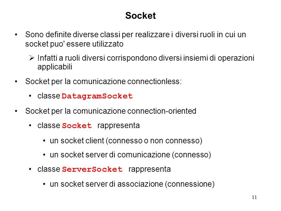 Socket Sono definite diverse classi per realizzare i diversi ruoli in cui un socket puo essere utilizzato.