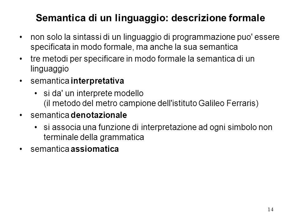 Semantica di un linguaggio: descrizione formale