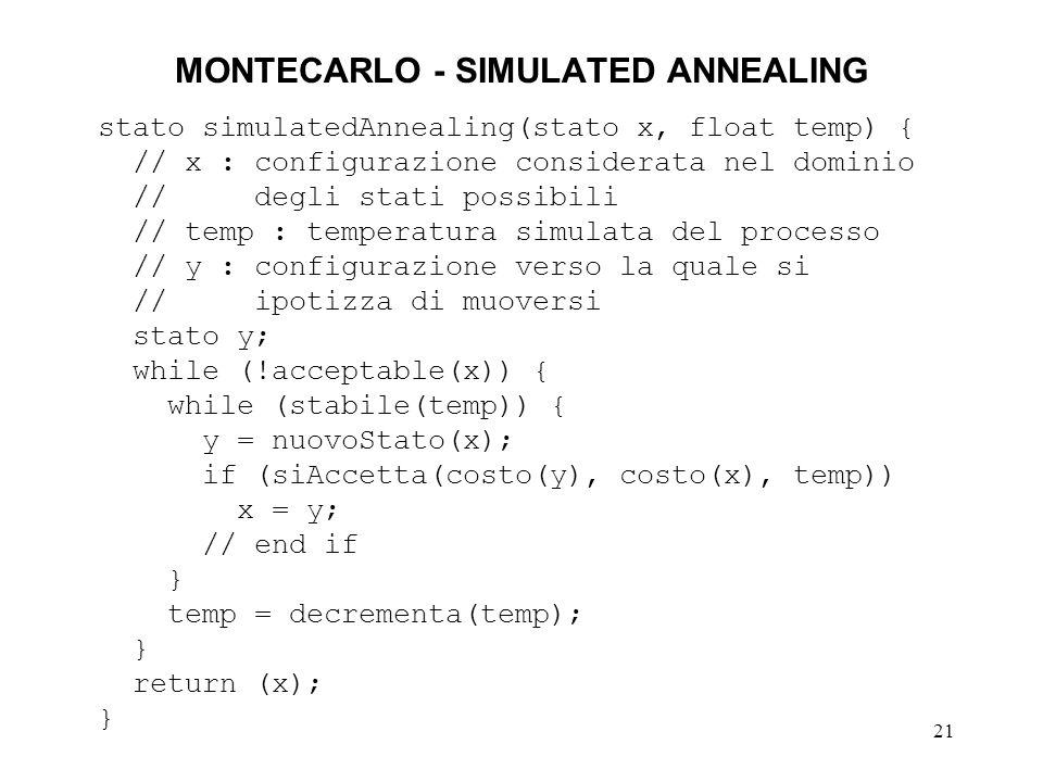 MONTECARLO - SIMULATED ANNEALING