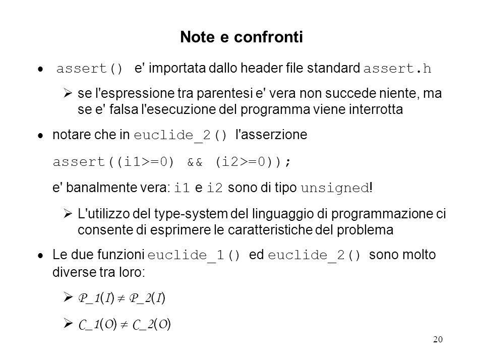 Note e confronti P_1(I)  P_2(I) C_1(O)  C_2(O)