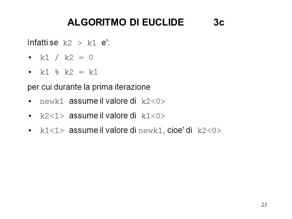 ALGORITMO DI EUCLIDE 3c Infatti se k2 > k1 e : k1 / k2 = 0