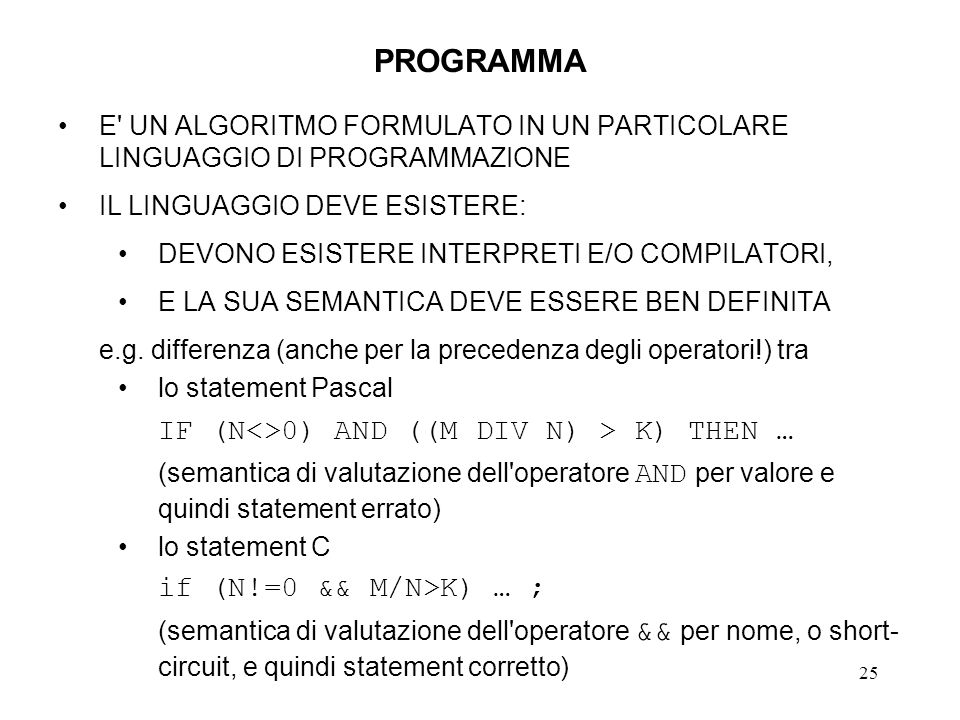 PROGRAMMA IF (N<>0) AND ((M DIV N) > K) THEN …