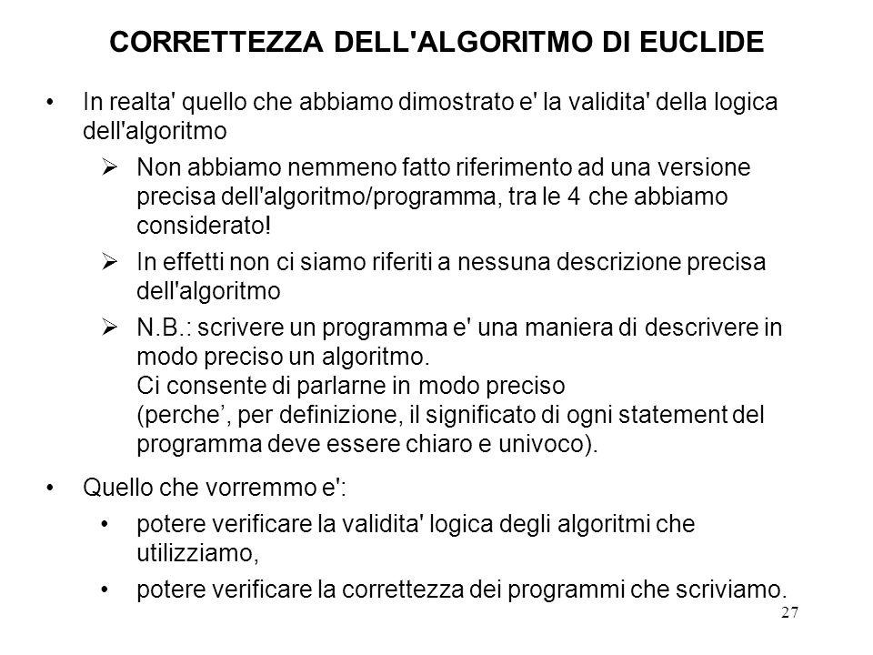 CORRETTEZZA DELL ALGORITMO DI EUCLIDE