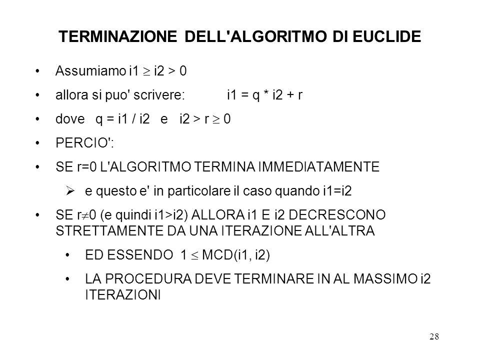 TERMINAZIONE DELL ALGORITMO DI EUCLIDE