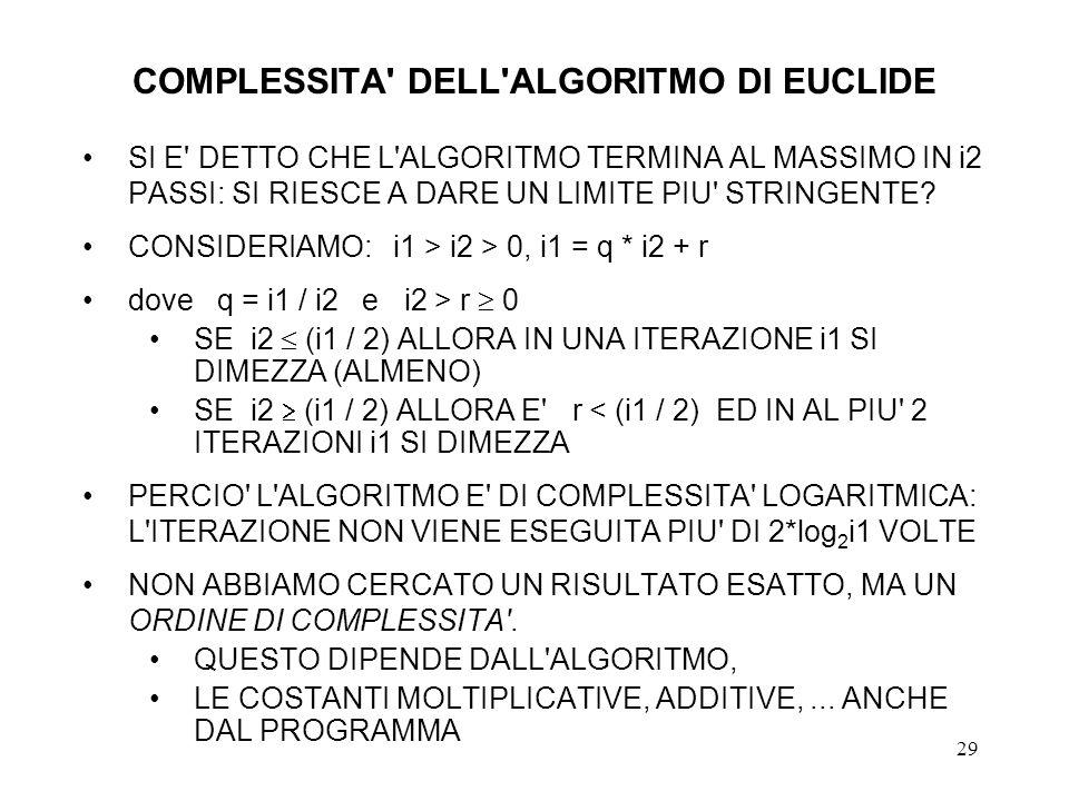 COMPLESSITA DELL ALGORITMO DI EUCLIDE