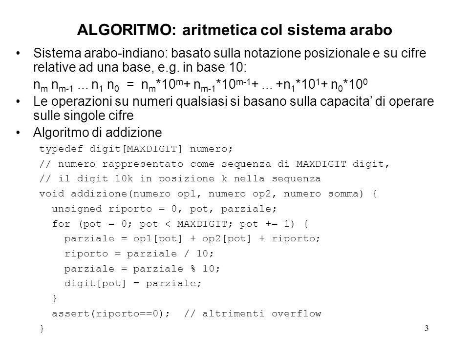 ALGORITMO: aritmetica col sistema arabo