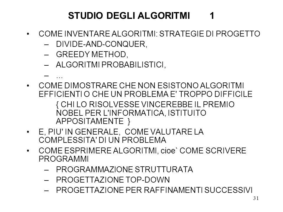 STUDIO DEGLI ALGORITMI 1
