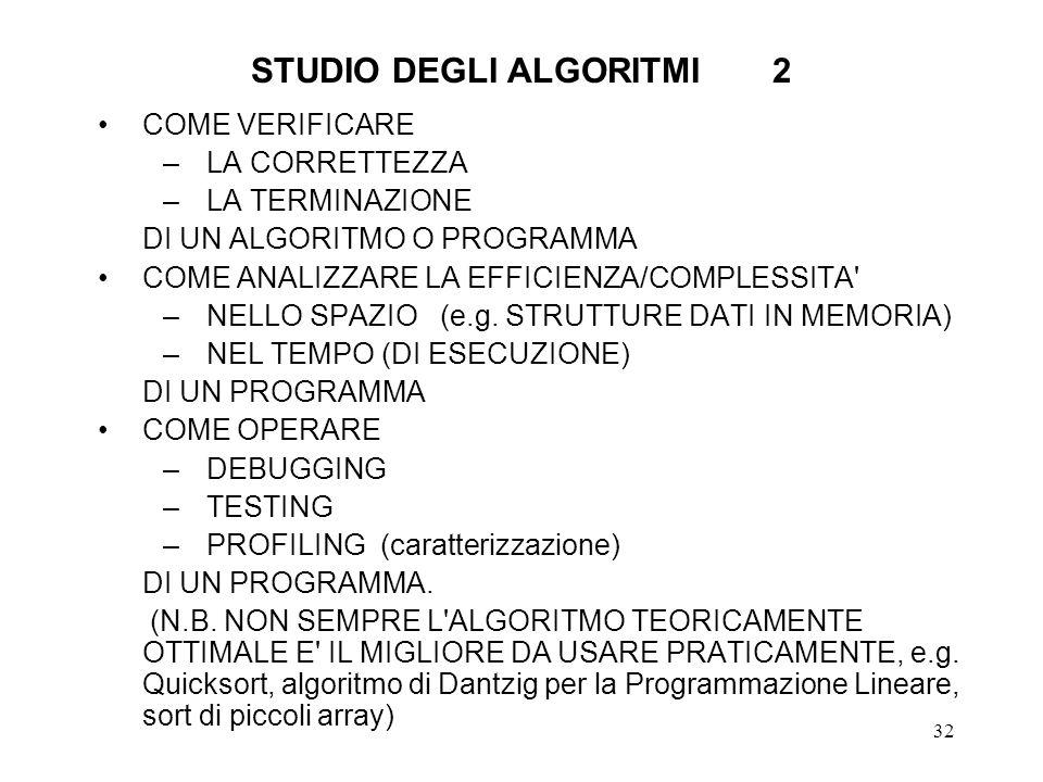 STUDIO DEGLI ALGORITMI 2