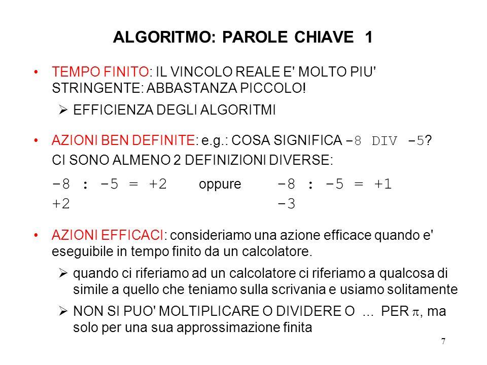 ALGORITMO: PAROLE CHIAVE 1