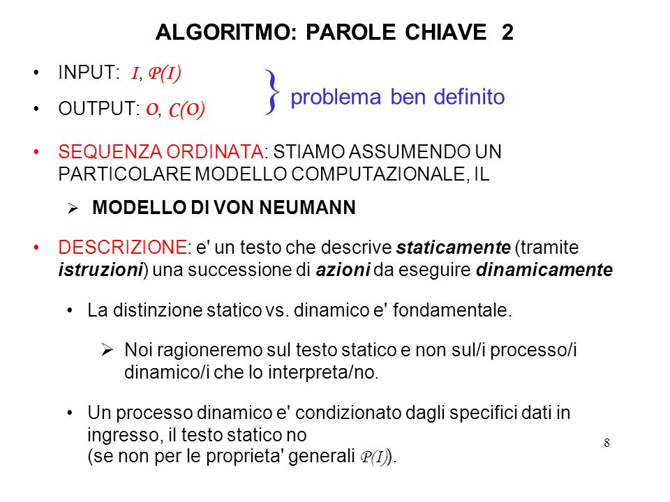 ALGORITMO: PAROLE CHIAVE 2