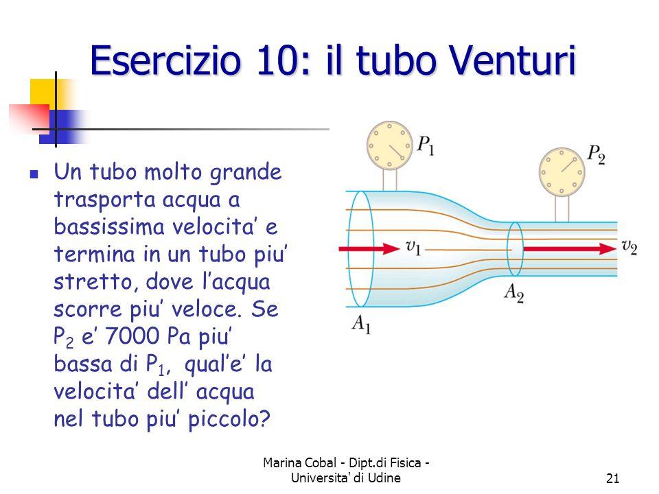 Esercizio 10: il tubo Venturi