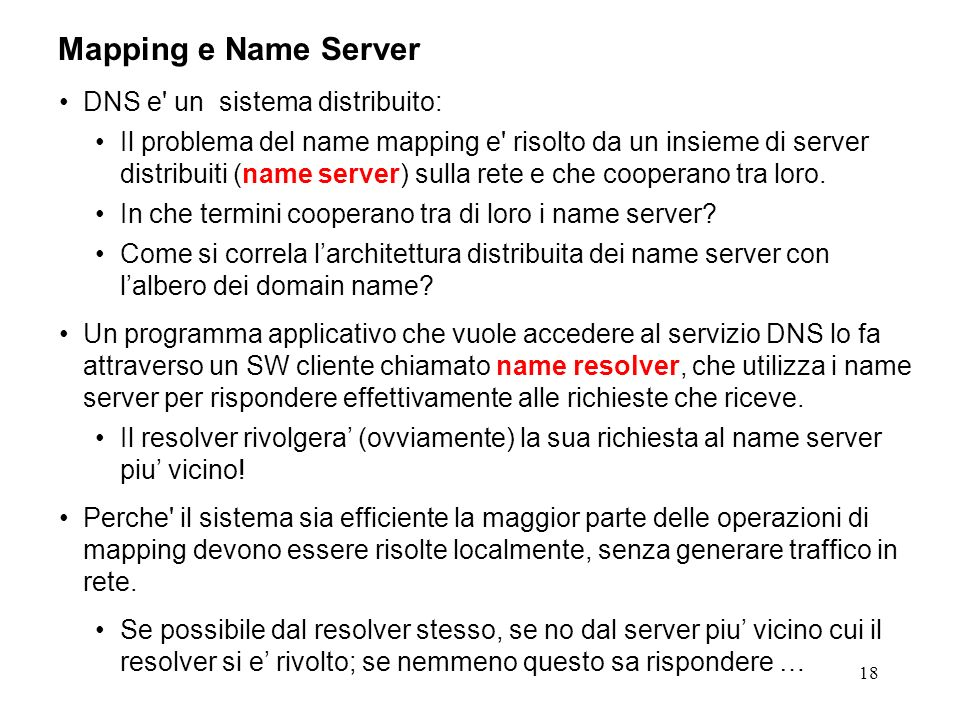 Mapping e Name Server DNS e un sistema distribuito: