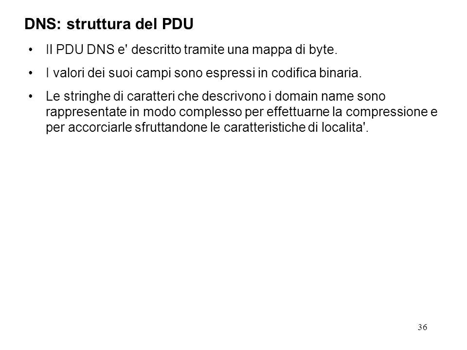 DNS: struttura del PDU Il PDU DNS e descritto tramite una mappa di byte. I valori dei suoi campi sono espressi in codifica binaria.