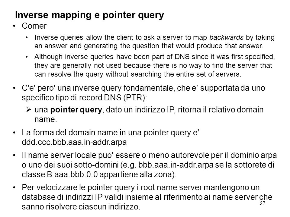 Inverse mapping e pointer query