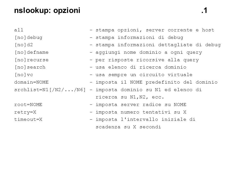 nslookup: opzioni .1