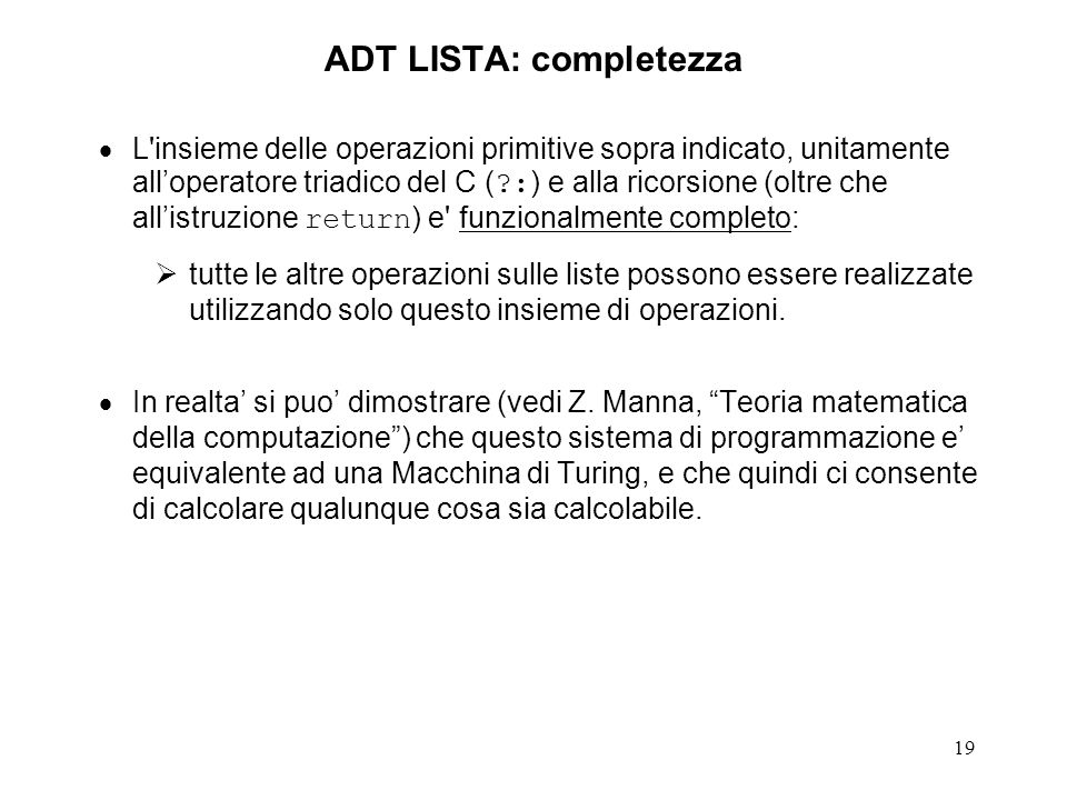 ADT LISTA: completezza