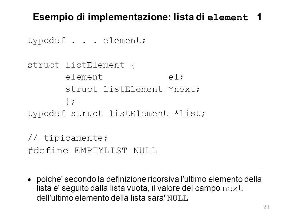 Esempio di implementazione: lista di element 1