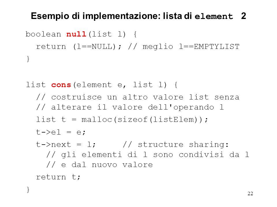 Esempio di implementazione: lista di element 2
