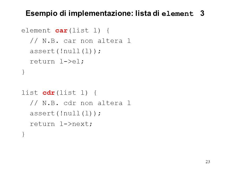 Esempio di implementazione: lista di element 3