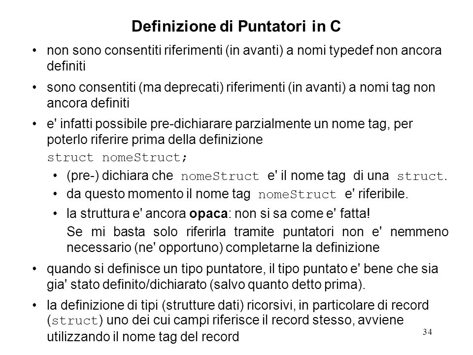 Definizione di Puntatori in C