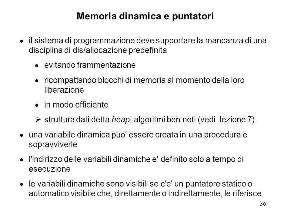 Memoria dinamica e puntatori