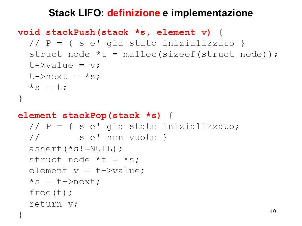 Stack LIFO: definizione e implementazione