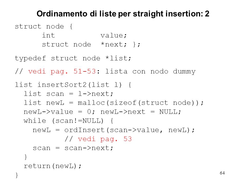 Ordinamento di liste per straight insertion: 2