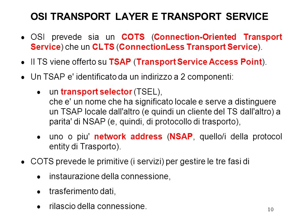 OSI TRANSPORT LAYER E TRANSPORT SERVICE