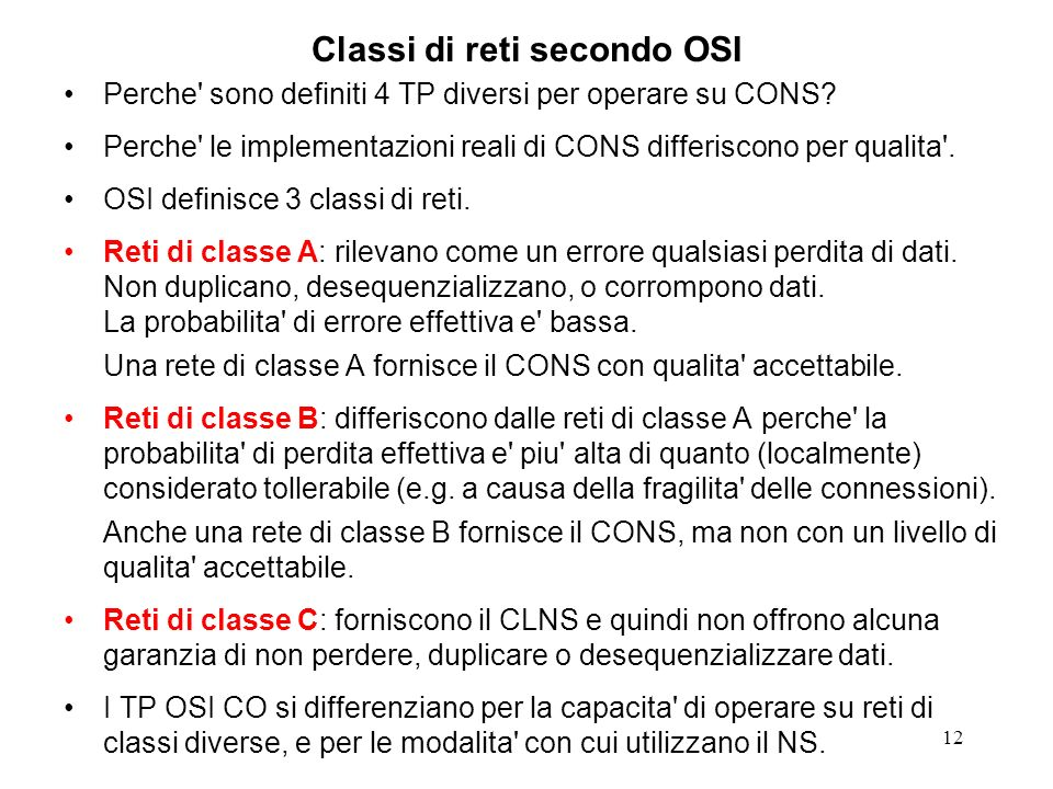 Classi di reti secondo OSI