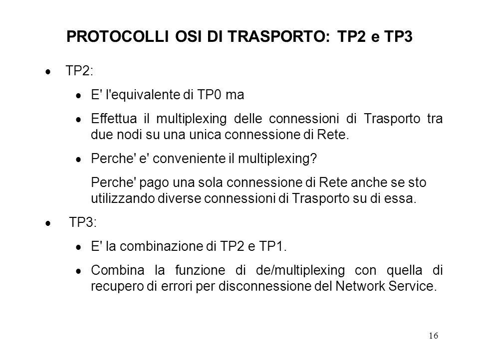 PROTOCOLLI OSI DI TRASPORTO: TP2 e TP3