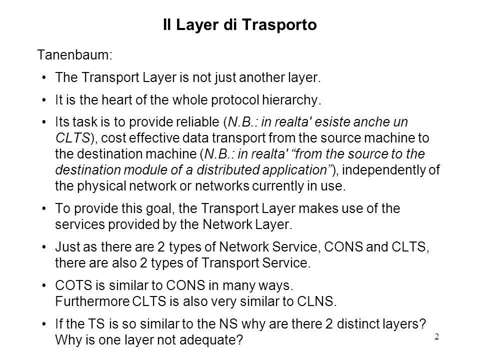 Il Layer di Trasporto Tanenbaum: