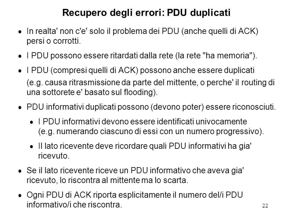 Recupero degli errori: PDU duplicati