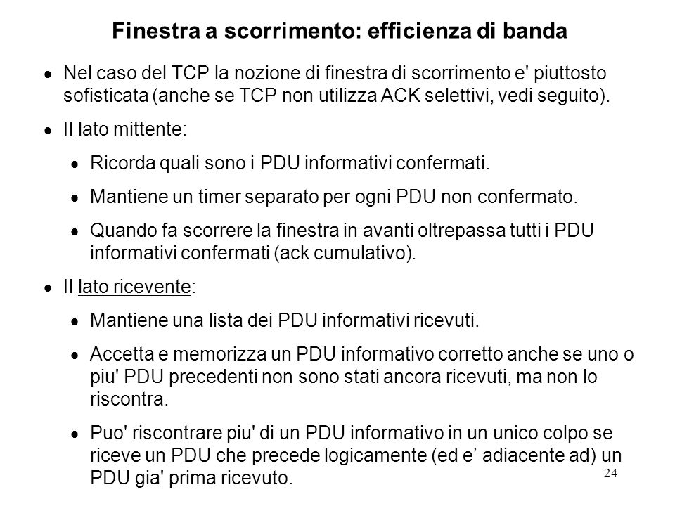 Finestra a scorrimento: efficienza di banda