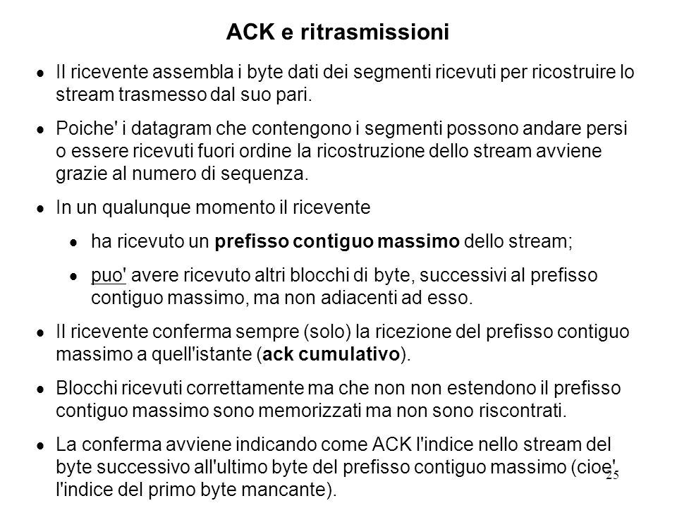 ACK e ritrasmissioni Il ricevente assembla i byte dati dei segmenti ricevuti per ricostruire lo stream trasmesso dal suo pari.