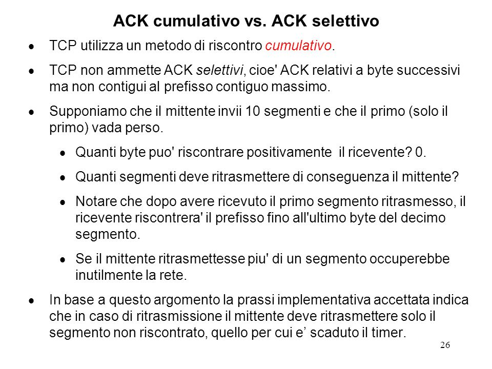 ACK cumulativo vs. ACK selettivo