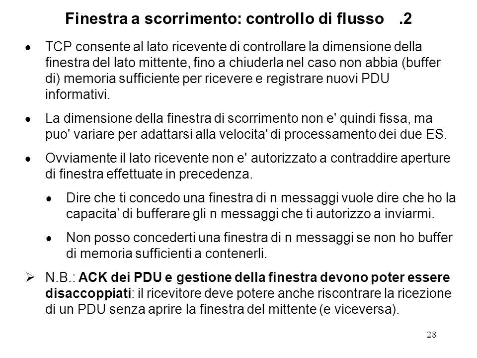 Finestra a scorrimento: controllo di flusso .2