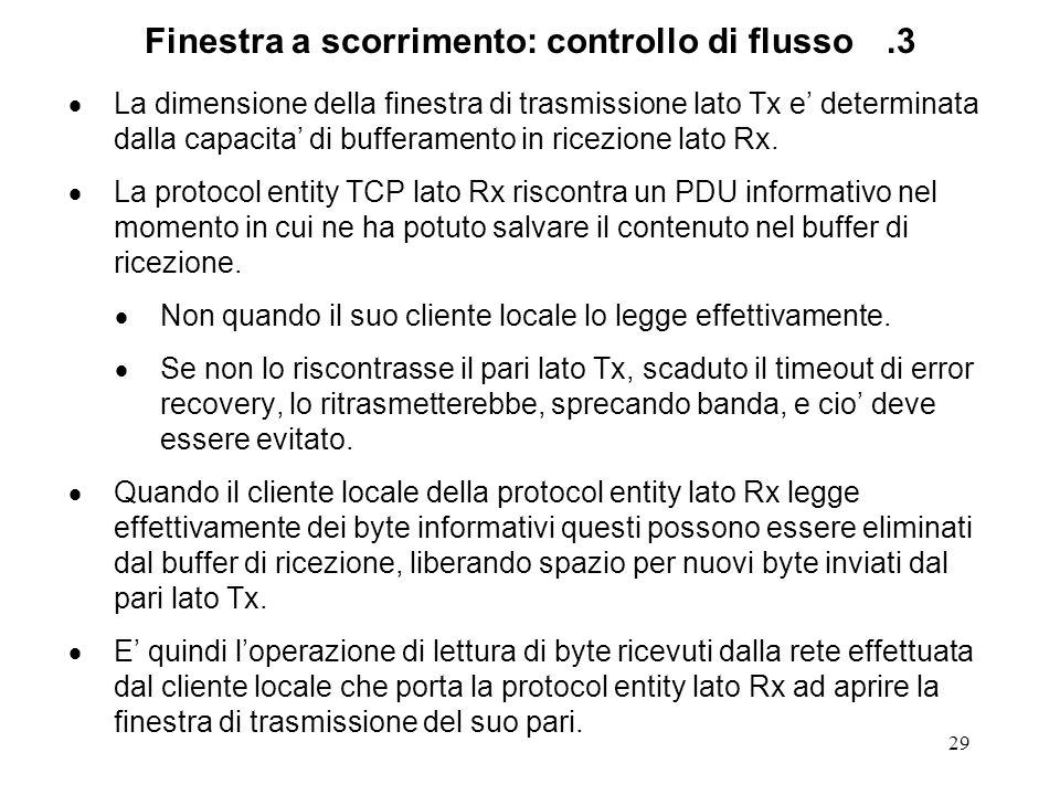 Finestra a scorrimento: controllo di flusso .3