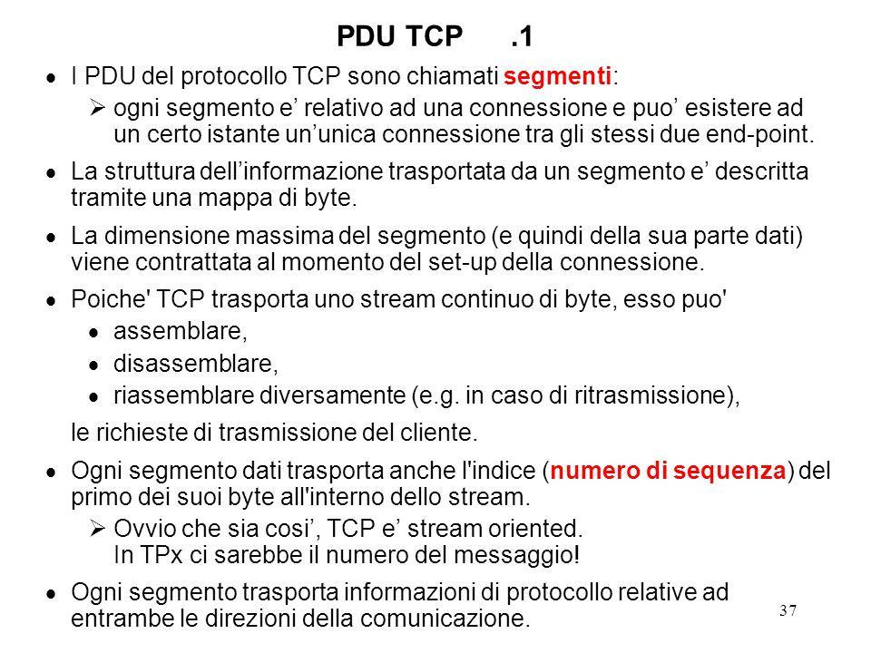 PDU TCP .1 I PDU del protocollo TCP sono chiamati segmenti: