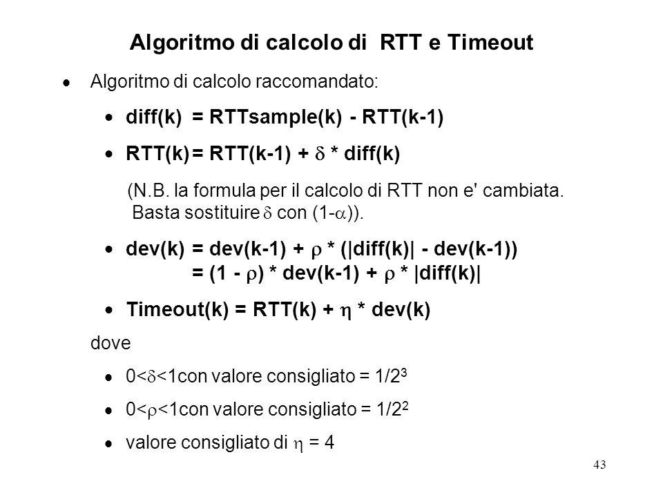 Algoritmo di calcolo di RTT e Timeout