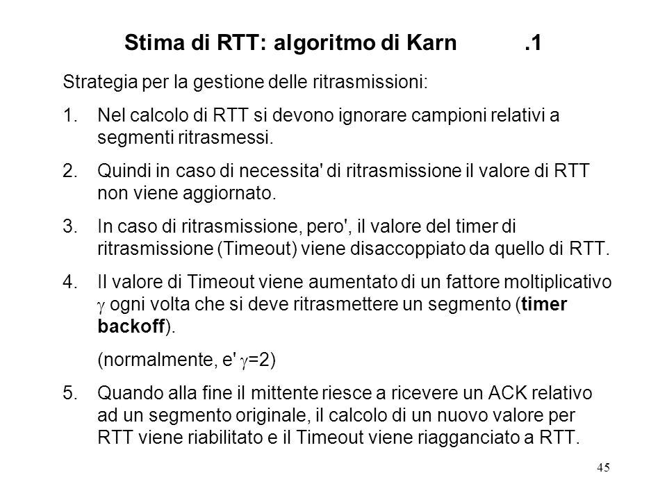 Stima di RTT: algoritmo di Karn .1