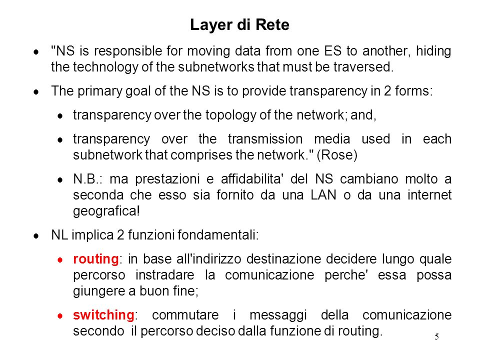 Layer di Rete NS is responsible for moving data from one ES to another, hiding the technology of the subnetworks that must be traversed.