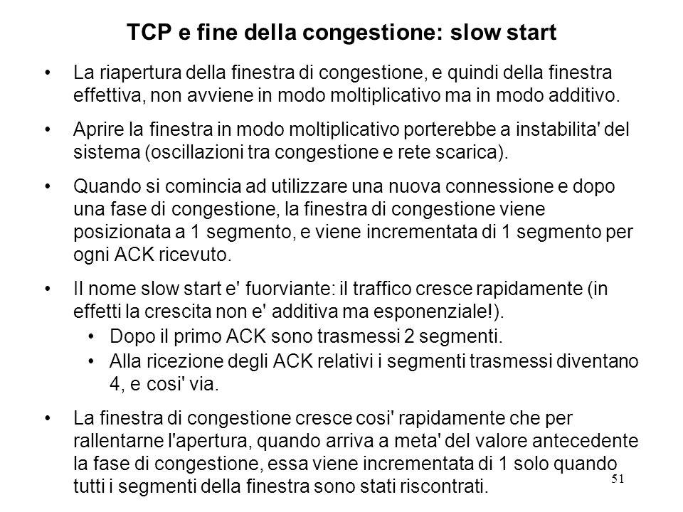 TCP e fine della congestione: slow start